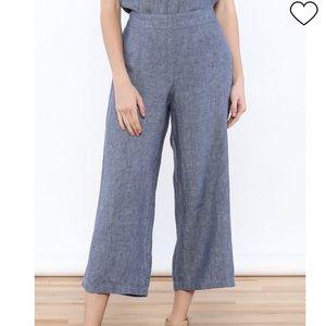 Flax wide leg cropped linen pants